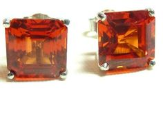 Padparadscha Sapphire square stud earrings