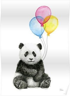 Baby Panda Balloons Watercolor Animals with Balloons Panda Art Print Panda Nursery Wall Art Panda Decor Baby Animals Jungle Safari Art Print : Baby Panda Ballons Aquarell Tiere mit Luftballons Panda Panda Nursery, Animal Nursery, Jungle Nursery, Panda Kindergarten, Image Panda, Panda Decorations, Baby Animals, Cute Animals, Panda Painting