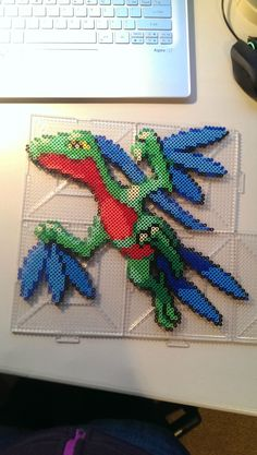 Grovyle Pokemon perler beads by discarded_scarf