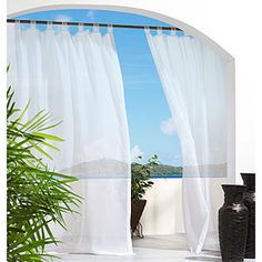 Outdoor Decor Escape Voile 54 by Velcro Tab Panel, Ivory: 54 Wide by 96 long Water repellent, mildew resistant polyester Made in china 20106000 Machine washable Color ivory; Sold as single panel Balcony Curtains, Tab Top Curtains, Voile Curtains, Bedroom Curtains, Outdoor Drapes, Indoor Outdoor, Outdoor Decor, Outdoor Living, Outdoor Rooms