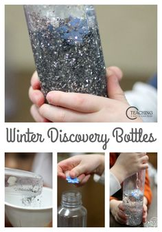 Add some sparkle to your winter with these easy discovery bottles! Preschoolers love measuring, mixing and pouring! Winter Activities For Kids, Christmas Crafts For Toddlers, Toddler Christmas, Preschool Winter, Weather Activities, Preschool Christmas, Winter Fun, Winter Theme, Winter Craft