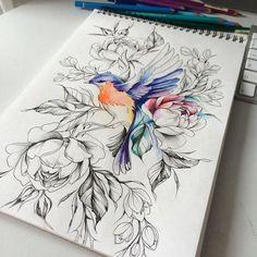 Entdecken Sie unsere Galerie mit den besten Bildern - Beste Tattoo Ideen Do you want to draw a tattoo? Discover our gallery with the best pictures de tatouage Bird Drawings, Art Drawings Sketches, Tattoo Drawings, Body Art Tattoos, Cool Tattoos, Sketch Tattoo, Flower Tattoo Designs, Flower Tattoos, Tattoo Zeichnungen