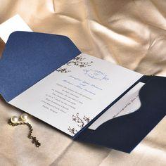 Less than $2 - discount elegant floral art deco monogram with blue pocket wedding invitation sets EWPI013