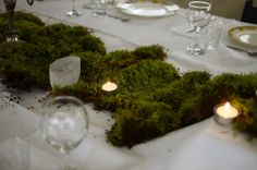 Moss centrepieces