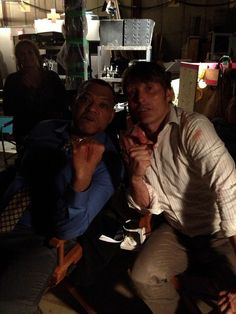 Mads and Laurence Fishburne, Hannibal. The Fight scene Aftermath