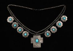 Navajo Silver and Turquoise Cross Necklace Fine Condition
