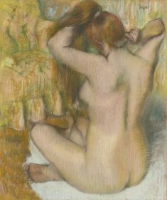 Edgar Degas 1834 - 1917. FEMME NUE, DE DOS, SE COIFFANT (FEMME SE PEIGNANT). Pastel on paper laid down on board 70.8 by 59 cm. Executed circa 1886-88. Sotheby's, THE COLLECTION OF A. ALFRED TAUBMAN
