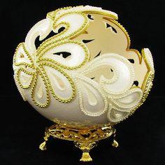 Fabrege Style Decorative Ostrich Egg Jewel Box.