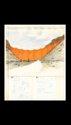 """Christo - """" Valley curtain (Project for Colorado) """", 1972 - Graphite, colored pencil, fabric, acrylic, paper collage and tape on paper - 70,5 x 55,6 cm"""