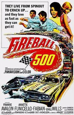 Fireball 500 Movie Poster Movie poster for the 1966 feature Fireball starring Frankie Avalon and Annette Funicello, along with Fabian, Chill Wills, Harvey Lembeck and Julie Parrish. 1960s Movies, Old Movies, Vintage Movies, Movie Theater, I Movie, Frankie Avalon, Annette Funicello, Cinema, Poster