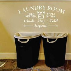 Laundry Room Help Needed Apply Within Wash Dry Fold Repeat Wall Decal Vinyl Lettering Home Decor (Black,xs) Wall Decal Sticker, Wall Stickers, Dog Washing Station, Laundry Room Wall Decor, Black Decor, Vinyl Lettering, Help Needed, How To Apply, Repeat