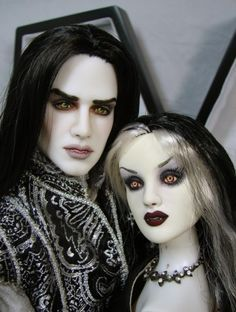 Vampire Waltz: Alabastar Hal Jordan and Antoinette mannequins repainted as vampires by Toni Brown, Bordello Dolls.