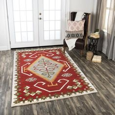 Shop the Rug - Color: Red; Size: Square by Rizzy. Made from Wool in India. This Hand Tufted Red rug has a pile_height, perfect for a soft yet durable addition to your home. Indian Rugs, Southwestern Style, Native American Art, Colorful Rugs, Area Rugs, Pure Products, 100 Pure, Color Red, Art Work