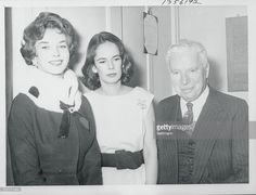 Charlie and Oona Chaplin Posing with Dawn Addams