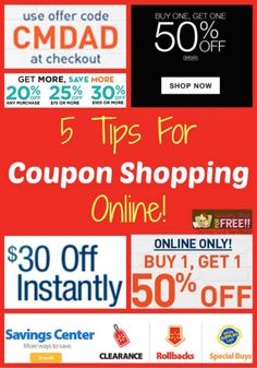5 Tips For Coupon Shopping Online. Most of us shop with coupons in stores, but, I want to share 5 tips for Coupon Shopping Online.