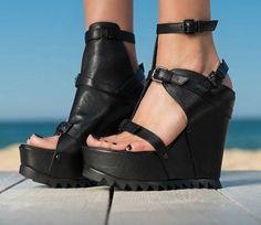 black Genuine Leather Platform Sandals/unique genuine leather