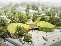 Hager Partner and nps tchoban voss collaborate to design a green-roofed rec center near Berlin   Inhabitat - Sustainable Design Innovation, Eco Architecture, Green Building