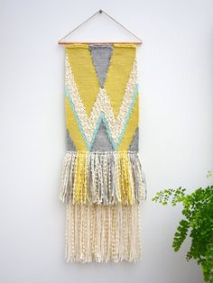 Woven wall hanging / Breezy 2 / tapestry / weaving by Lepetitmoose Weaving Textiles, Weaving Art, Loom Weaving, Tapestry Weaving, Hand Weaving, Handmade Wall Hanging, Woven Wall Hanging, Hanging Tapestry, Simple Geometric Pattern