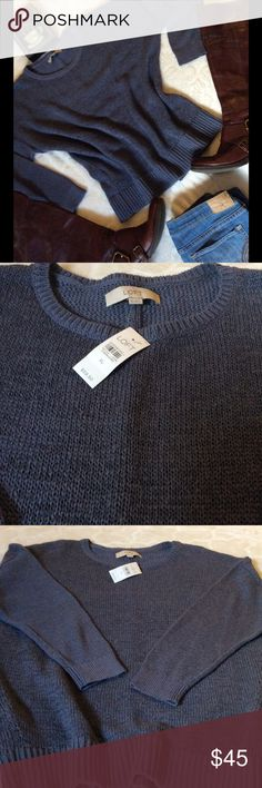 NWT LOFT Blue Long Sleeve Knit Sweater NWT $59.50 Ann Taylor LOFT SIZE XL Blue 41% Ramie 34% Cotton 25% Nylon Has a Gauzy like feel material(soft) Blue 27in Shoulder top to hem  25in Armpit to Armpit unstretched  30in Stretched  Sleeves from neck to cuff is 27in Sleeve from armpit to cuff is 18in LOFT Sweaters Crew & Scoop Necks