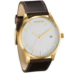 Men's Gold cased Brown leather watch from MVMT Watches. This Brown leather version is a versatile watch, fitting in casual, formal and professional setting