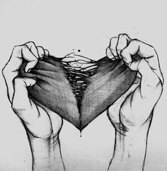 love drawing Illustration art Black and White sad Cool creepy heart depressing Broken heart Tattoo Flash Art ~A.R.