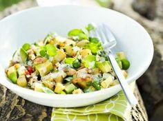 Avocadosalade met waterkers en spek