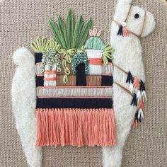 Llama Embroidery - Fabric Crafts for Kids and Grown-Ups embroidery sweets embroidery inspiration embroidery beautiful Hand Embroidery Stitches, Embroidery Hoop Art, Cross Stitch Embroidery, Embroidery Patterns, Embroidery Fabric, Llama Gifts, Needle Felting, Needlework, Sewing Projects