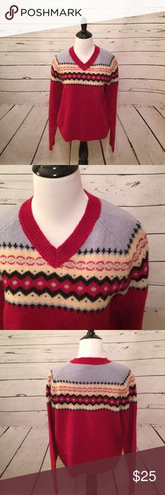 """Twink wool fair isle sweater size L Twink Shetland Fair Isle wool sweater size L. Bust measurement is 20"""" across from armpit to armpit. Length is 22 1/2"""" and sleeve length is 23"""". Twink Sweaters Crew & Scoop Necks"""