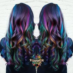 Top 40 Opal oil slick hair color 2018 – Reny styles - New Sites Oil Slick Hair Color, Cool Hair Color, Hair Colors, Peacock Hair Color, Galaxy Hair Color, Peacock Nails, Galaxy Colors, Hair Color 2018, Hair 2018