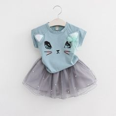 Menoea Summer Baby Girls Clothing Sets Fashion Style Cartoon Kitten Printed T-Shirts+Net Veil Dress Girls Clothes What a beautiful image Visit our store Cat Dresses, Baby Girl Dresses, Baby Dress, Baby Girls, Pink Dress, Kids Girls, Toddler Girls, Baby Outfits, Kids Outfits