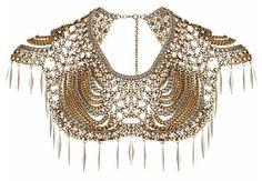 Pearl crochet cape necklace
