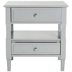 Lovisa Two-Drawer Nightstand, Gray