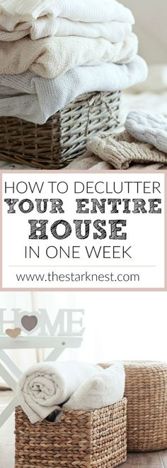 How to Declutter Your Entire House in One Week - This is an extremely thorough guide to decluttering your entire home. I love that it breaks it down step by step so you only have to focus on one thing each day. Makes it super easy!!   www.thestarknest.com