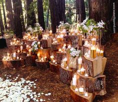Waterlily Pond Design Studio - Ceremony decor with wood logs, candles and white flowers