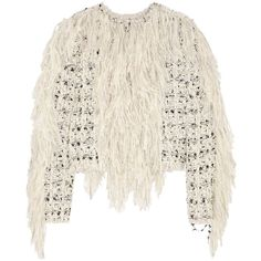 Lanvin Fringed wool-blend tweed jacket (€1.285) ❤ liked on Polyvore featuring outerwear, jackets, tops, white, white fringe jacket, lanvin jacket, white tweed jacket, tweed jacket and white jacket