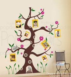 PopDecors - Colorful photo tree (71in H ) - removable vinyl art wall decals stickers decal sticker mural * Startling review available here  (This is an amazon affiliate link. I may earn commission from it)