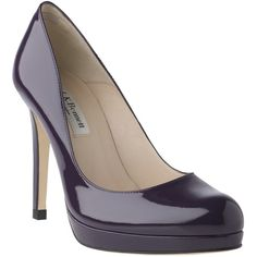L.K. Bennett Patent Leather Sledge Platform Court Shoes, Plum ❤ liked on Polyvore
