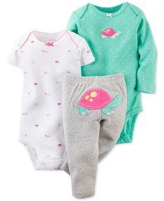 Carter's Baby Girls' 3-Piece Turtle Bodysuits & Pants Set - Kids Baby Girl (0-24 months) - Macy's
