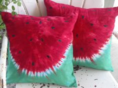 Tie dye decorative designer pillow covers 2 by BrisTieDyes Watermelon Images, Watermelon Crafts, Watermelon Patch, Shibori, Watermelon Drawing, Festival Themed Party, Pillow Cover Design, Pillow Covers, How To Tie Dye