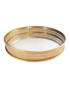Look what I found on #zulily! Gold Pierced Mirror Tray #zulilyfinds
