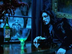 """Be still my beating, black Gothic heart: Trent Reznor in the video for the """"Perfect Drug"""". And with Absinthe. Perfection."""