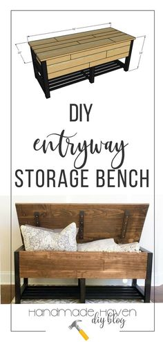 Diy Furniture : Make this beautiful and useful entryway storage bench plans tutorial and Diy Entryway Storage Bench, Bench With Shoe Storage, Entryway Furniture, Storage Chest, Hidden Storage, Storage Benches, Pallet Storage, Bedroom Storage, Outdoor Storage