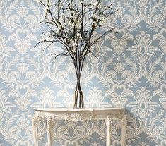 View Ardwell by Nina Campbell at Ethnic Chic. Classic Wallpaper, Luxury Wallpaper, Designer Wallpaper, Nina Campbell, Ethnic Chic, China Sets, Fine China, Damask, Luxury Homes