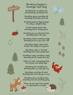 A freebie for your school room and a fun song to sing while on a nature walk. This poem reminds you to use all your senses when observing and exploring nature Fun Songs To Sing, Camp Songs, Nature Poems For Kids, Walking Song, Song Suggestions, School Songs, Nature Activities, Nature Adventure, Forest School
