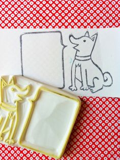 dog rubber stamp. puppy stamp. hand carved rubber stamp. hand carved stamp. speech bubble. card making. write your message. by talktothesun.