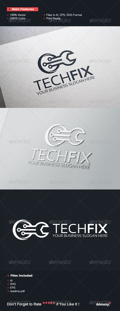 Tech Fix Logo Template — Vector EPS #screw drive #corporate • Available here → https://graphicriver.net/item/tech-fix-logo-template/6748911?ref=pxcr