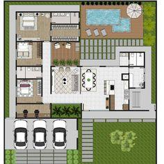 """Eder Oliveira no Instagram: """"Estudo em desenvolvimento de uma residência térrea. Foram solicitados: ambientes integrados, jardim interno e a predominância de uma…"""" Pool House Plans, House Layout Plans, Family House Plans, New House Plans, Dream House Plans, House Layouts, House Floor Design, Home Design Floor Plans, Floor Plans"""