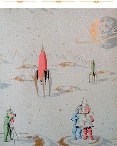1950s space ship wallpaper