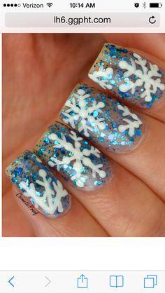 Glitter snowflake nail art