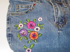Vintage 70s amazingly detailed hand embroidered by joiedeglam flower embroidery on purse made from recycled nevada jeans kids childrens or ladies ccuart Images